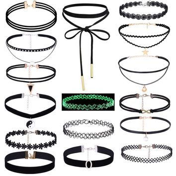 16Pieces Choker Necklace Set Stretch Velvet Classic Gothic Tattoo Lace Choker