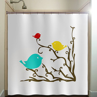 red yellow blue birds brown tree branch shower curtain bathroom decor fabric kids bath white black custom duvet cover rug mat window