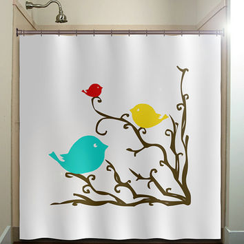 Red Yellow Blue Birds Brown Tree Branch Shower Curtain Bathroom Decor Fabric Kids Bath White Black