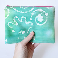 Light Green & White Batik Lined Zipper Pouch Handbag Clutch Accessories Case 100% Cotton