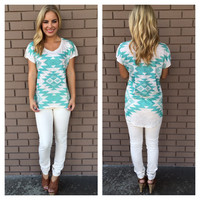 Mint Aztec Short Sleeve Hi Low Top