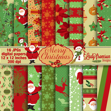 Merry Christmas Digital Paper Pack-Holiday-Scrapbooking-snowman snowflake santa christmas tree vintage reindeer Commercial-Personal Use