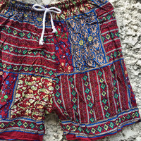 Shorts Stylist Hippie floral Printed Boho Festival Beach Summer Clothes Ethnic Bohemian Baggy Street Chic Clothing Spring for Men Women red