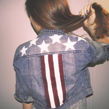American Flag - Cropped denim jacket