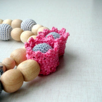 Gradation Grey Pink Nursing necklace Teething necklace Necklace for new mommy Crochet bead  Organic Eco friendly Safe Jewelry
