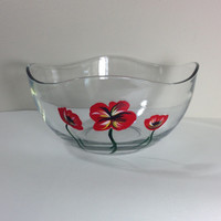 Large Glass Salad or Serving Bowl with Hand Painted Red Poppies