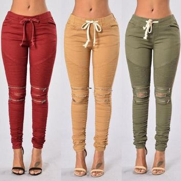 Casual Multi Pocket High Waist  Pencil Pants For Women