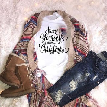Women Fashion Slogan Cotton Tee Casual Have yourself a merry little Christmas T-Shirt Aesthetic Graphic Outfits Grunge Shirts