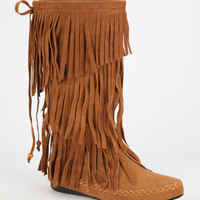 Adriana Mudd Womens Tall Fringe Moccasin Boots Cognac  In Sizes
