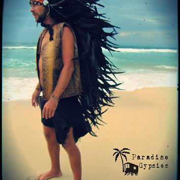 Black Long Full Feather Headdress With Traditional Bead Detail by Paradise Gypsies