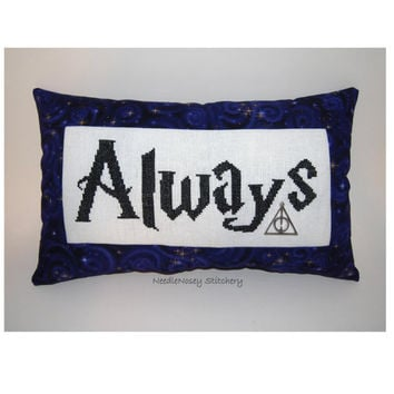 Harry Potter Cross Stitch Pillow Purple Pillow by NeedleNosey