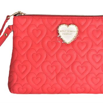 Betsey Johnson Women's COSMETIC BAG T-BOTTOM - RED