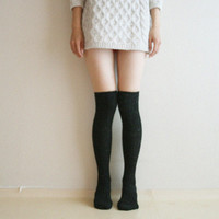 Wool Knitted Thigh high socks Leg warmer Boot socks Preppy Pin up Holiday Christmas gift