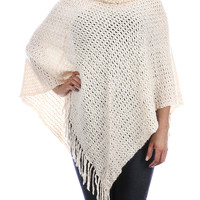 Ivory Turtle Neck Knit Poncho