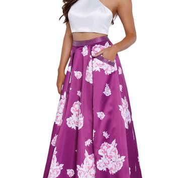 Nox Anabel - 8245 Two-piece Floral Halter A-line Evening Dress