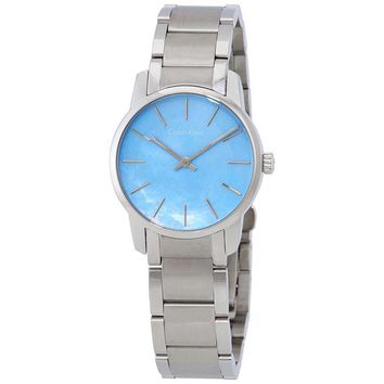 Calvin Klein City Blue Mother Of Pearl Dial Ladies Steel Watch K2G2314X