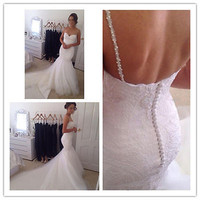 2015 Sexy v-neck backless mermaid wedding dress custom size 6 8 10 12 14 16 18++