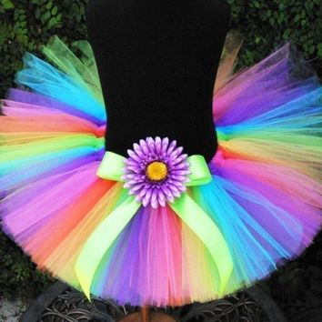 "Girls Tutu - Brilliant - Custom Sewn Rainbow Tutu - up to 10"" long - sizes Newborn up to 5T - Tutus for babies, toddlers, and children"