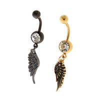 14G Gold and Hematite Angel Wing Belly Rings Set of 2