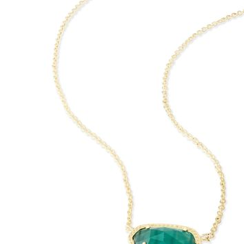 Kendra Scott Elisa Emerald Cat's Eye Gold Necklace