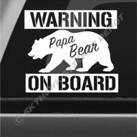 Funny Papa  Bear On Board Bumper Sticker Decal Warning Decal Car Baby On Board
