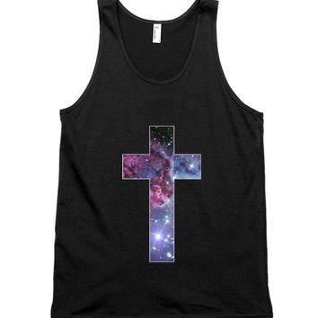 Nebula Galaxy Cross Unisex Tank Top