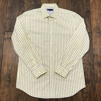 Banana Republic NON IRON Slim Fit Yellow Striped Button Up Shirt Mens Size Large
