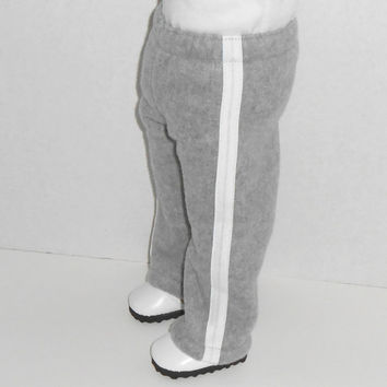 18 inch Doll Clothes Gray Fleece Sweat Pants with White Trim fits American Girl Doll
