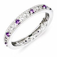 Sterling Silver Stackable Expressions Amethyst Ring