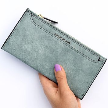 High quality cattle and amraphel frosted PU leather womens wallets and purses luxury brand high-capacity Ladies card wallet bags