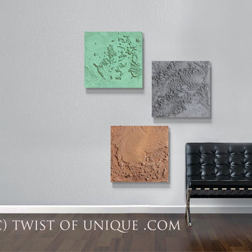 Concrete Wall art / 3 square ORIGINAL (15 inch square) / Industrial Abstract painting/ AcryliCrete / Concrete/  Gray, Green, Brown