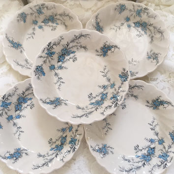 Myott Staffordshire Forget Me Not Set Of 8 Vintage 1950's Fine China Blue Floral Berry Bowls