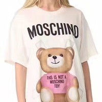 "Hot Sale Moschino ""Pink Bear"" Fashion Women T Shirt Loose Short Sleeves"