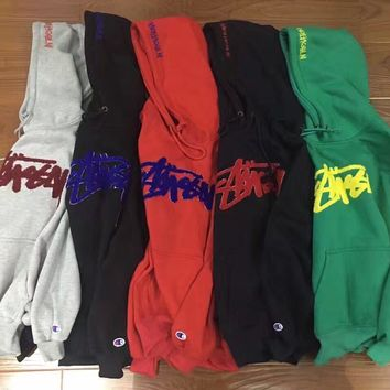 Fashion Stussy Print Hooded Pullover Tops Sweater Sweatshirts