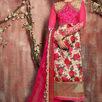 Pink and Cream Floral Zari Embroidered Straight Cut Suit