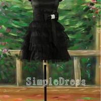 A-line Sleeveless Short / Mini Satin Tulle Cheap Prom/Evening/Party/Homecoming/Brideamaid/Cocktail Dresses 2013 With Bowknot