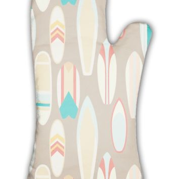 Oven Mitt, Pattern With Vintage Surfboards