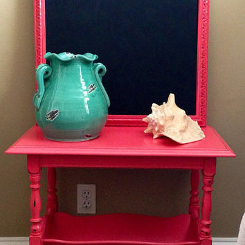 Vintage Large Frame Upcycled Chalkboard Hand Painted and Distressed in Coral