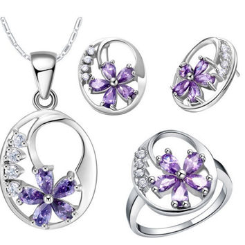 925 Sterling Silver Jewelry Set Sparkling Element CZ Purple Flower Necklace Earrings Rings Wedding Accessories