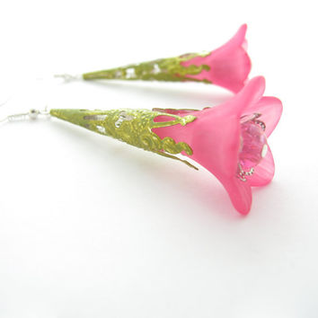 Hot Pink Lucite Flower Earrings, Hand Painted Filigree