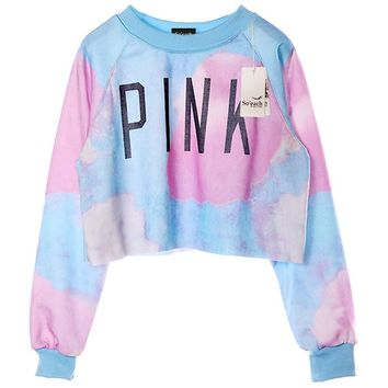 Vshop-2000 Women's Tie Dye And Letters Printed Midriff Cropped Sweatshirt