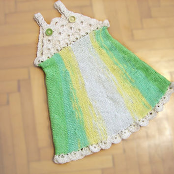 Baby girl cotton dress, crochet first baby dress, green and white infant dress, christening gown, 0 to 3 month, unique item