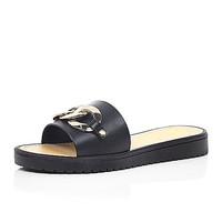 River Island Womens Black chain front jelly sandals