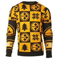 Pittsburgh Steelers Official NFL Patches Ugly Crew Neck Sweater (PRE-ORDER EXPECTED TO SHIP MIDDLE OF SEPTEMBER)