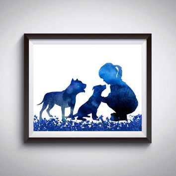 Nursery decor, Dog print, Pit bull print, Girl with dogs, Blue watercolor, Poster print, Modern minimalist, Dog painting, Instant download