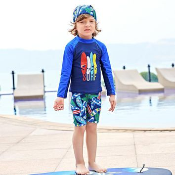 Childrens Swimsuit Cute Boys  Baby Kid Clothes Swimwear Children 2018 New Handsome Boy Breathable 5867 Cartoon Polyester Sierra Surfer KO_25_2