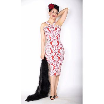 Goddess Wiggle Dress in Red and White Damask