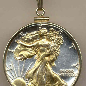 2-Toned Gold on Silver Old U.S. Walking Liberty half dollar Necklace