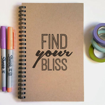 Writing journal, spiral notebook, cute diary, small sketchbook, scrapbook, memory book - Find your Bliss, motivational quote