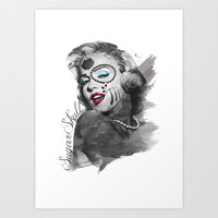Sugar Skull-Marilyn Monroe Art Print by Pigmento Design